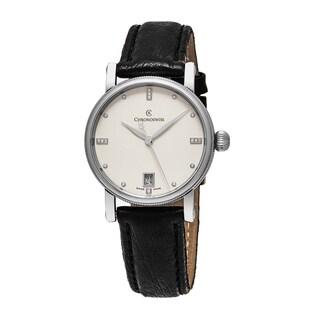 ChronoSwiss Women's CH-8923 'Sirius' Silver Diamond Dial Black Leather Strap Swiss Automatic Watch