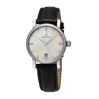 ChronoSwiss Women's CH-8923-MP 'Sirius' Mother of Pearl Diamond Dial Black Leather Strap Swiss Autom