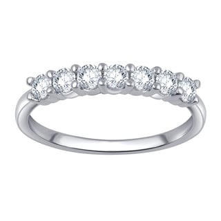 Divina 10k White Gold 1/2ct TDW 7-stone Diamond Anniversary Band