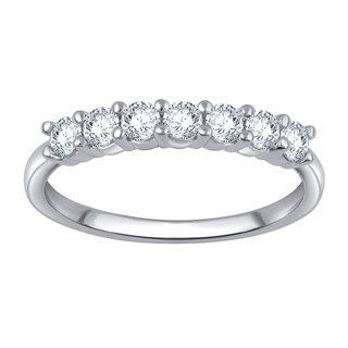 Divina 10k White Gold 1/2ct TDW 7-stone Diamond Anniversary Band (4 options available)