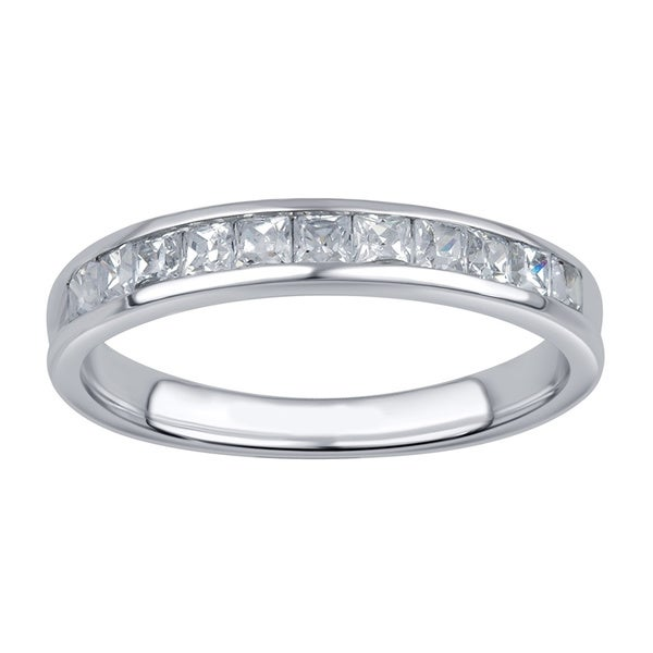 Divina 10k White Gold 1/2ct TDW 11-stone Princess Diamond Wedding Band