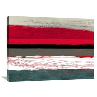Naxart Studio 'Abstract Stripe Theme Red Grey And White' Stretched Canvas Wall Art