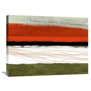 Naxart Studio 'Abstract Stripe Theme Orange And Black' Stretched Canvas Wall Art