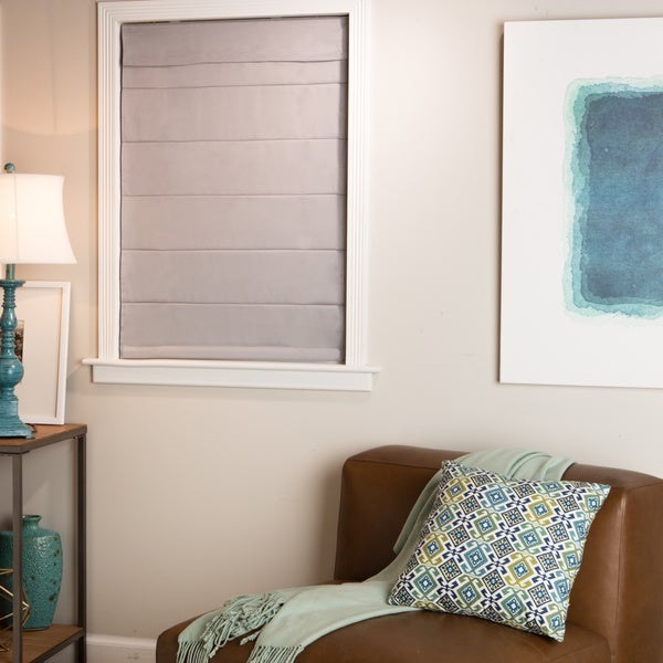 arlo blinds grey cordless fabric roman light filtering. Black Bedroom Furniture Sets. Home Design Ideas