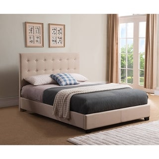 Rize Sebright Queen Size Taupe Upholstered Platform Bed