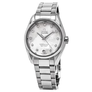 Omega Women's 231.10.34.20.55.002 'Aqua Terra' Mother of Pearl Diamond Dial Stainless Steel Swiss Au|https://ak1.ostkcdn.com/images/products/11459096/P18416825.jpg?impolicy=medium