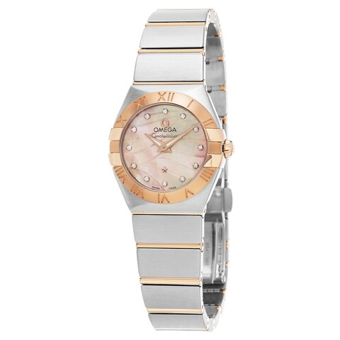Omega Women's 'Constellation' Pink Mother of Pearl Diamond Dial Two Tone Swiss Q