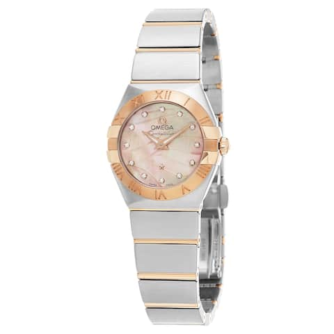 Omega Women's 123.20.27.60.57.002 'Constellation' Pink Mother of Pearl Diamond Dial Two Tone Swiss Q