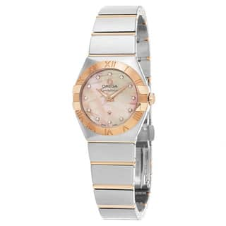 Omega Women's 123.20.27.60.57.002 'Constellation' Pink Mother of Pearl Diamond Dial Two Tone Swiss Q|https://ak1.ostkcdn.com/images/products/11459098/P18416827.jpg?impolicy=medium