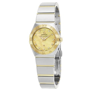 Omega Women's 123.20.27.60.57.001 'Constellation' Champagne Mother of Pearl Diamond Dial Two Tone Swiss Quartz Watch