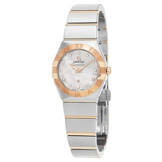 Omega Women's 123.20.27.60.55.006 'Constellation' Mother of Pearl Diamond Dial Steel/Rose Gold Swiss Quartz Watch