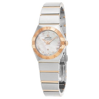 Omega Women's 123.20.27.60.55.006 'Constellation' Mother of Pearl Diamond Dial Steel/Rose Gold Swiss