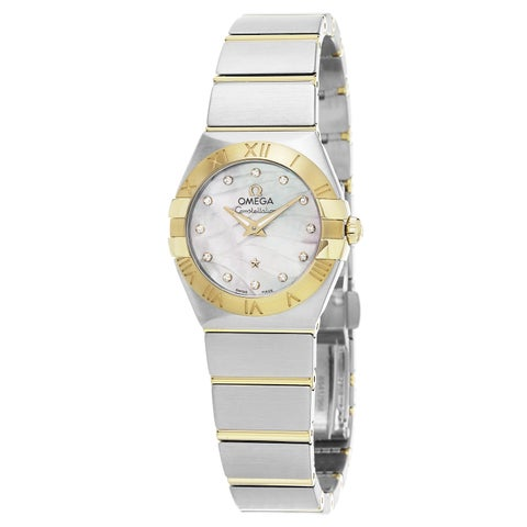 Omega Women's 'Constellation' Mother of Pearl Diamond Dial Steel/Yellow Gold Swi