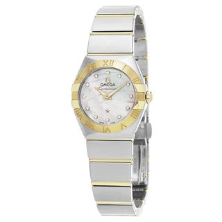 Omega Women's 123.20.27.60.55.005 'Constellation' Mother of Pearl Diamond Dial Steel/Yellow Gold Swi