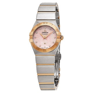 Omega Women's 123.20.24.60.57.003 'Constellation' Pink Mother of Pearl Diamond Dial Two Tone Swiss Quartz Watch