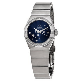 Omega Women's 123.15.27.20.03.001 'Orbis Constellation Star' Blue Dial Stainless Steel Diamond Swiss Automatic Watch