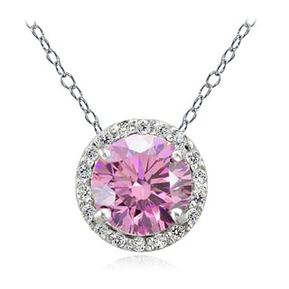 Icz Stonez Platinum Plated Sterling Silver 3 3/4ct TGW 100 Facets Colored Cubic Zirconia Halo Necklace