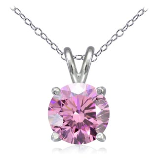 Icz Stonez Platinum Plated Sterling Silver 2 3/4ct TGW 100 Facets Colored Cubic Zirconia Solitaire Necklace