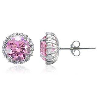 Icz Stonez Platinum Plated Sterling Silver 3 3/8ct TGW 100 Facets Colored Cubic Zirconia Halo Stud Earrings
