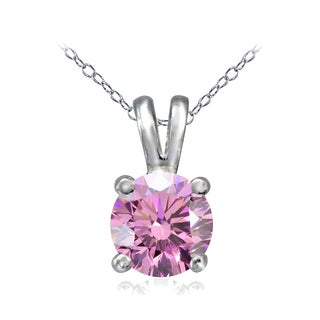 Icz Stonez Platinum Plated Sterling Silver 1ct TGW 100 Facets Colored Cubic Zirconia Solitaire Necklace