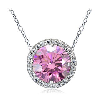 Icz Stonez Platinum Plated Sterling Silver 3ct TGW 100 Facets Colored Cubic Zirconia Halo Necklace