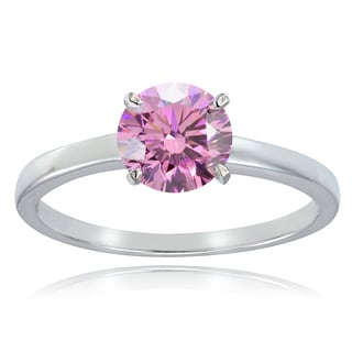 Icz Stonez Platinum Plated Sterling Silver 1ct TGW 100 Facets Colored Cubic Zirconia Ring
