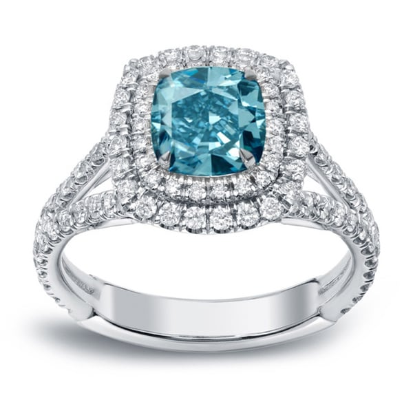 auriya 18k white gold 2ct tdw blue diamond halo engagement ring - Blue Diamond Wedding Rings