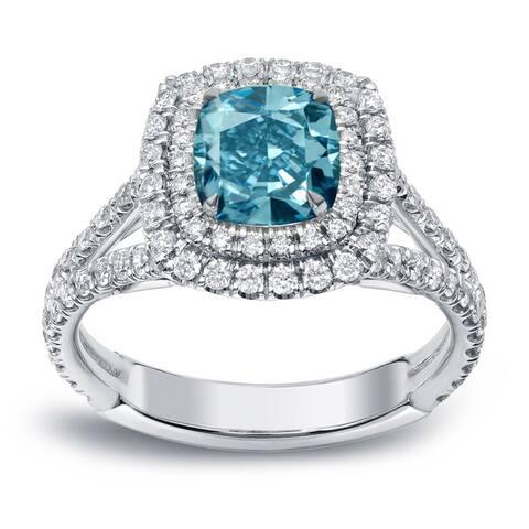 Auriya 18k Gold 2 carat TW Cushion-cut Halo Blue Diamond Engagement Ring