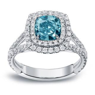 Auriya 18k White Gold 2ct TDW Blue Diamond Double Halo Engagement Ring