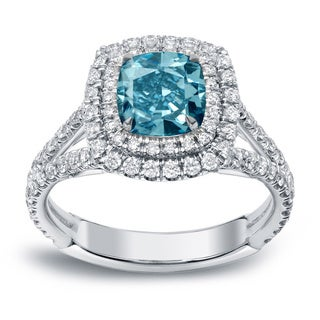 Auriya 18k White Gold 2ct TDW Blue Double Halo Diamond Unique Engagement Ring