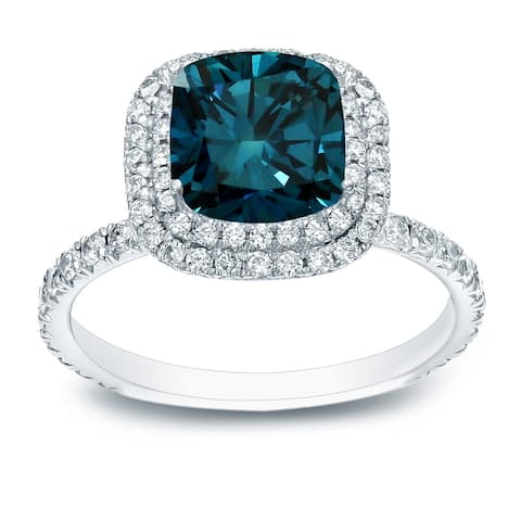 Auriya 18k Gold 3 carat TW Cushion-cut Halo Blue Diamond Engagement Ring
