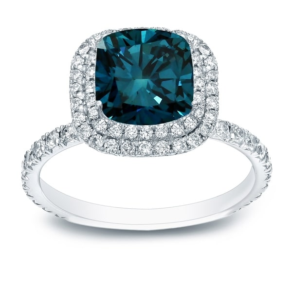 Shop Auriya 3 Carat Tw Cushion Cut Halo Blue Diamond