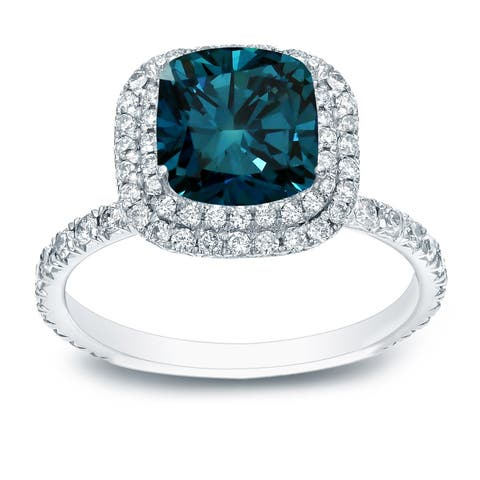 Auriya 3 carat TW Cushion Cut Halo Blue Diamond Engagement Ring 18K White Gold