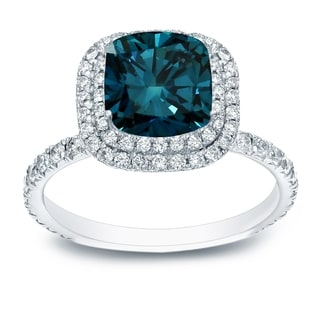 Auriya 18k White Gold 3ct TDW Cushion-Cut Blue Diamond Halo Engagement Ring (Blue, SI1-SI2)