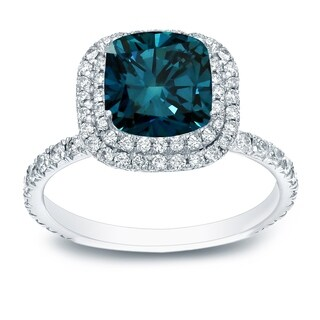 Auriya 18k White Gold 3ct TDW Blue Cushion-Cut Diamond Halo Engagement Ring