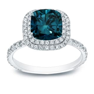 Auriya 3 carat TW Cushion-cut Halo Blue Diamond Engagement Ring 18k Gold