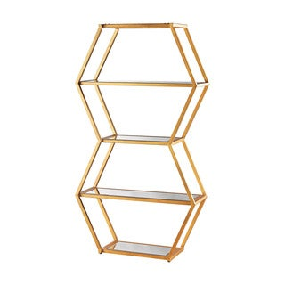 Dimond Home Vanguard Bookshelf in Gold Leaf and Clear Mirror