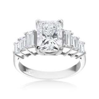 Andrew Charles Platinum Radiant 3 1/4ct with 6 Baguette 1 1/10ct TDW Diamond Ring (E-F,SI1-SI2)