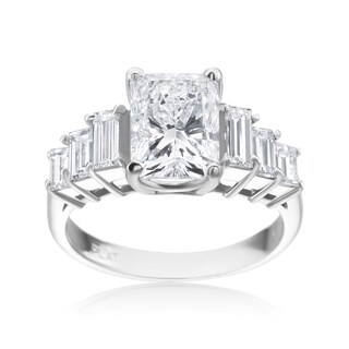 SummerRose Platinum Radiant 3 1/4ct with 6 Baguette 1 1/10ct TDW Diamond Enagement Ring (Certified Diamond) - White