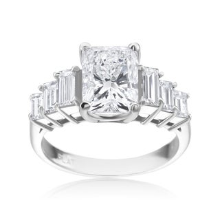 Andrew Charles Platinum Radiant 3 1/4ct with 6 Baguette 1 1/10ct TDW Diamond Ring - White