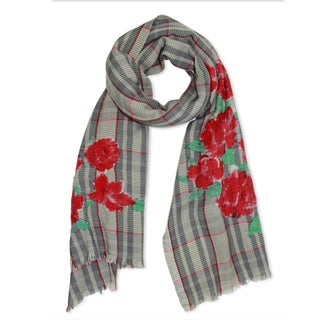 Saachi Women's Hand-Painted Floral Striped Wool and Cotton Blend Scarf (India)