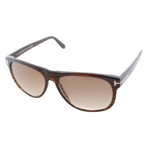 4b907714f431 Tom Ford Unisex TF 236 Olivier 50P Striped Brown Soft Square Plastic  Sunglasses
