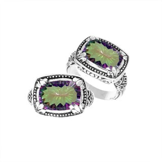 Handmade Sterling Silver Mystic Topaz Bali Ring (Indonesia)