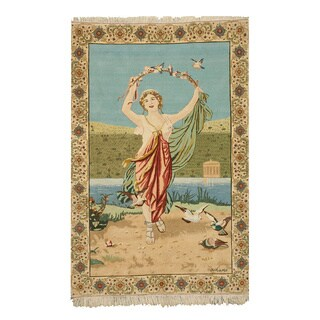 Hand-knotted Wool Traditional Oriental Pictorial Tabriz Rug (5'2 x 7'9)