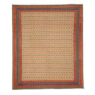 EORC Beige Hand Knotted Wool Flatweave Soumak Rug (8'3 x 9'11)