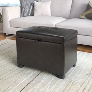 CorLiving Antonio Storage Ottoman in Black Bonded Leather