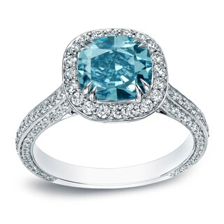 Auriya 18k White Gold 3ct TDW Cushion-Cut Blue Diamond Halo Engagement Ring