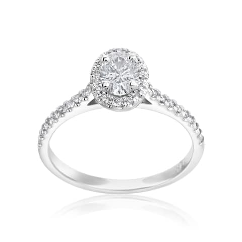 SummerRose 14k White Gold 1/2ct Oval and 1/4ct Round Diamond Halo Ring