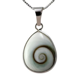 Sterling Silver Pear Shiva Eye Shell Classic Necklace (Thailand)