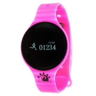 Pink Zunammy Slim Round Activity-Tracker Watch with Tap-Screen Display